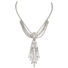 Vintage Rhinestone Fringe Burst Necklace
