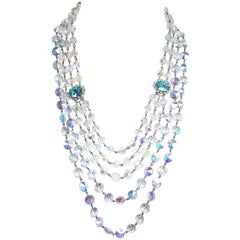 Aurora Borealis Glass and Crystal Necklace