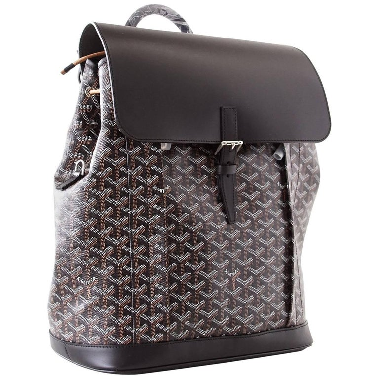 Goyard Alpin Black Chevron and Calfskin Backpack