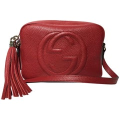 Gucci Soho Disco Leather Shoulder Crossbody Bag red new