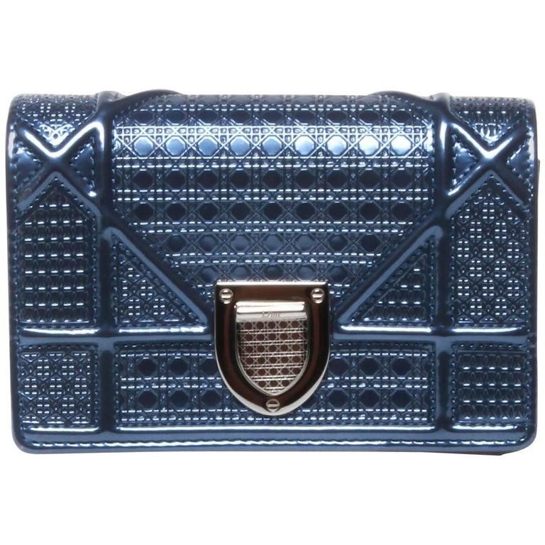 e116d9c14e4e Christian Dior Mini Blue Metallic Diorama Bag at 1stdibs