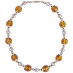 Art Deco Chrome and Faceted Amber Glass Bead Necklace, circa 1930s