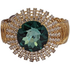 Gold Tone Statement Bracelet with a Green Glass Stone and Clear Rhinestones