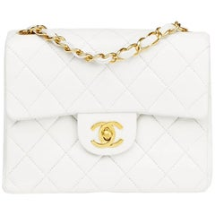 1990s Chanel White Quilted Lambskin Vintage Mini Flap Bag