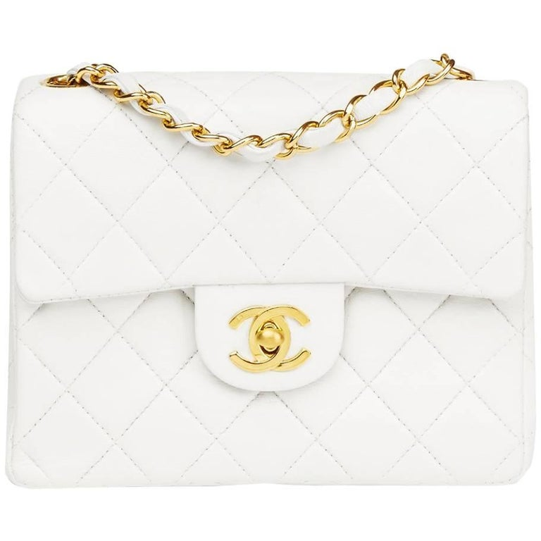 1990s Chanel White Quilted Lambskin Vintage Mini Flap Bag  For Sale