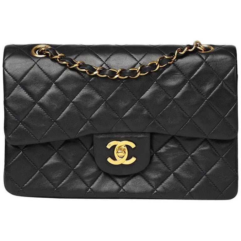 1c3267ed1901 Chanel Navy Quilted Lambskin Vintage Small Classic Double Flap Bag For  Sale.