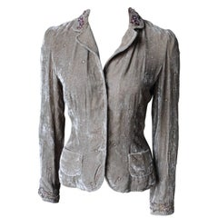 Elie Tahari Silk Velvet Jacket with Embroidered Details