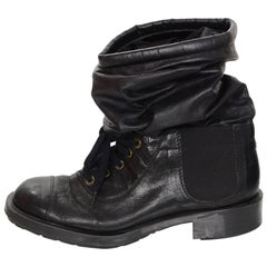 Chanel Black Leather Sock Combat Boots Sz 41