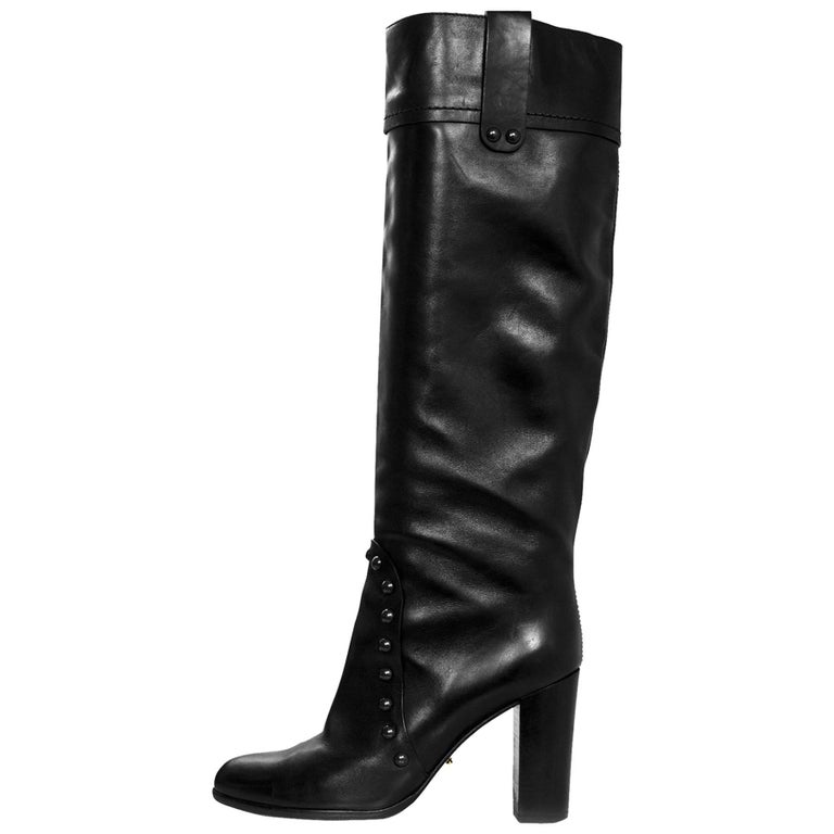 Sergio Rossi Black Leather Studded Boots Sz 38.5