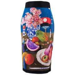 Prada Women's Multicolor Fruit Print Silk Faille Pencil Skirt