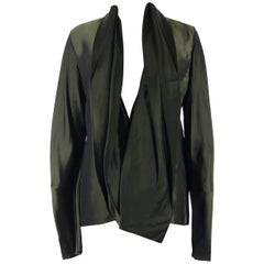 Haider Ackermann Womens Green Cornwallis Draped Satin Blouse