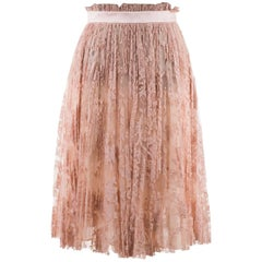 Alexander Mcqueen Womens Pink Pleated Floral Lace Skirt