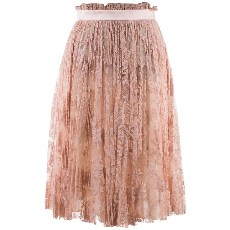 Alexander Mcqueen Womens Pink Pleated Floral Lace Skirt 1