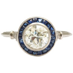 Diamond and Sapphire, Platinum 1.25 ct Engagement Ring
