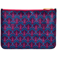 Liberty London Pink & Blue Iphis-Print Zip Top Pouch/Clutch Bag