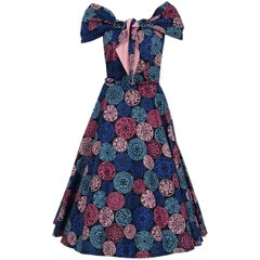 1950's Toni Hunt Novelty Medallion Cotton Print Shawl-Collar Belted Sun Dress