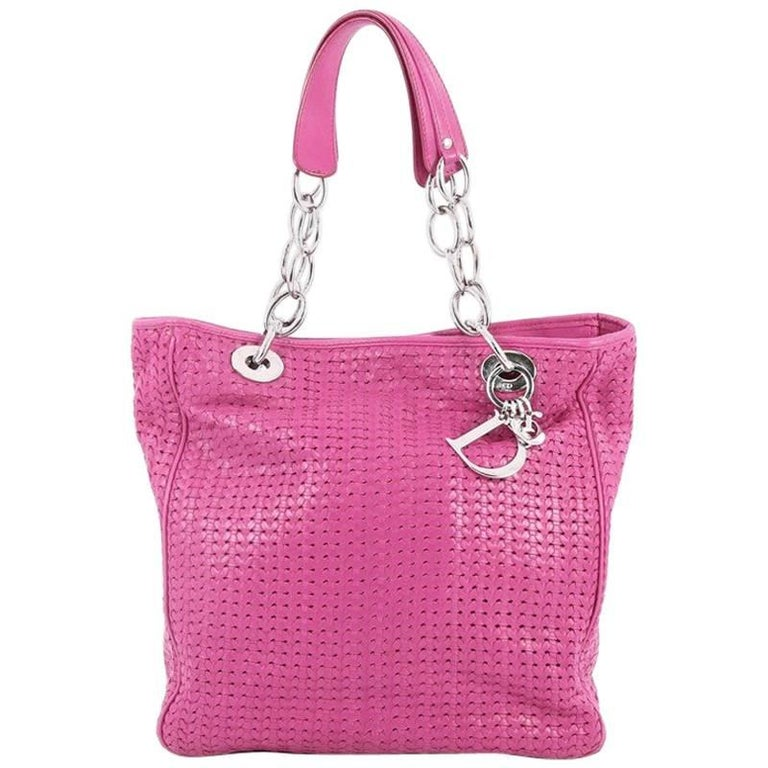 Christian Dior Soft Chain Tote Woven Leather Medium