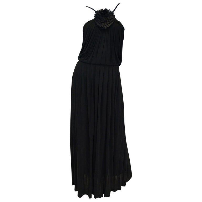 2003 Fendi Black Drape Jersey Knit Maxi Dress For Sale