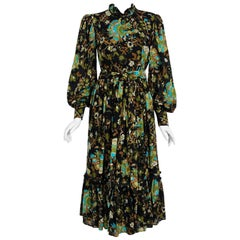 1970's Gina Fratini Floral Print Wool Billow-Sleeve Belted Bohemian Gypsy Dress