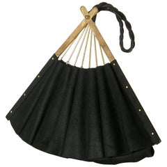 Anne-Marie Black Suede Handbag Shaped Like a Folding Fan