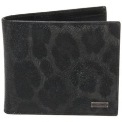 Dolce and Gabbana Dark Leopard Print Bi-Fold Wallet