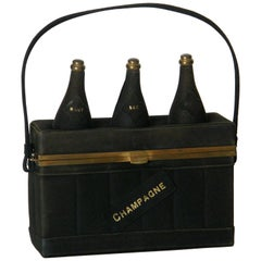 Black Suede Handbag Shaped Like a Crate of Champagne Bottles