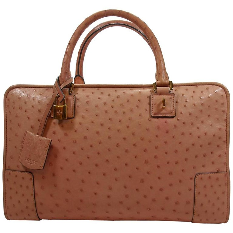 Loewe Ostrich Leather Amazona Bag 36 cm Rose Bubble Gum Gold Hardware