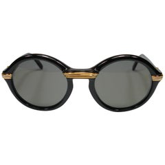 Collector Vintage Cartier Cabriolet Round Black Gold Sunglasses France 1991's