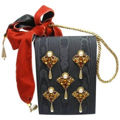 Pearl and Velvet Embellished Vintage Evening Bag