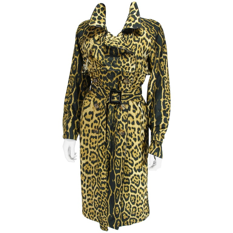 Tom Ford for Yves Saint Laurent Rare Leopard Printed Trench Coat 34 FR 4 US