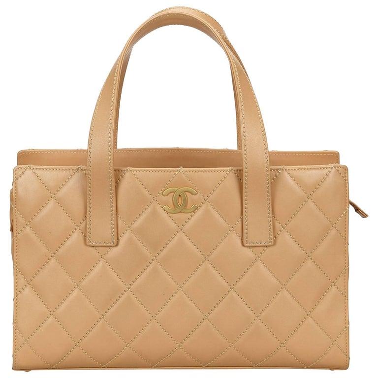 Chanel Beige Wild Stitch Leather Handbag