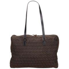 Fendi Zucchino Brown Jacquard Shoulder Bag