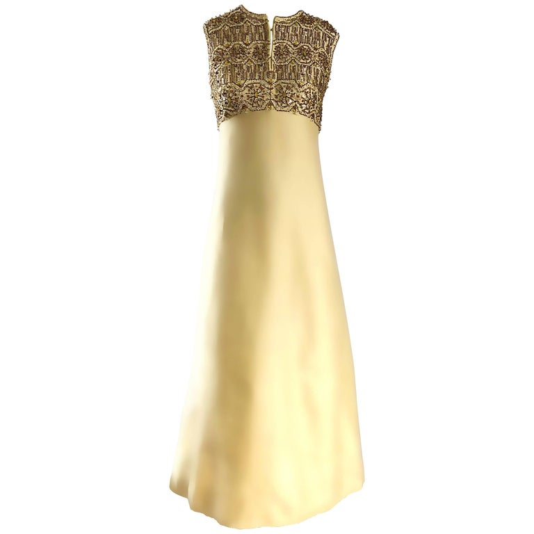 Stunning 1960s Dynasty Pale Yellow Silk Shantung Beaded Vintage Couture Gown  For Sale