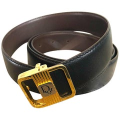Men's Vintage Christian Dior 70s Reversible Black / Brown Large XL 1970s Belt