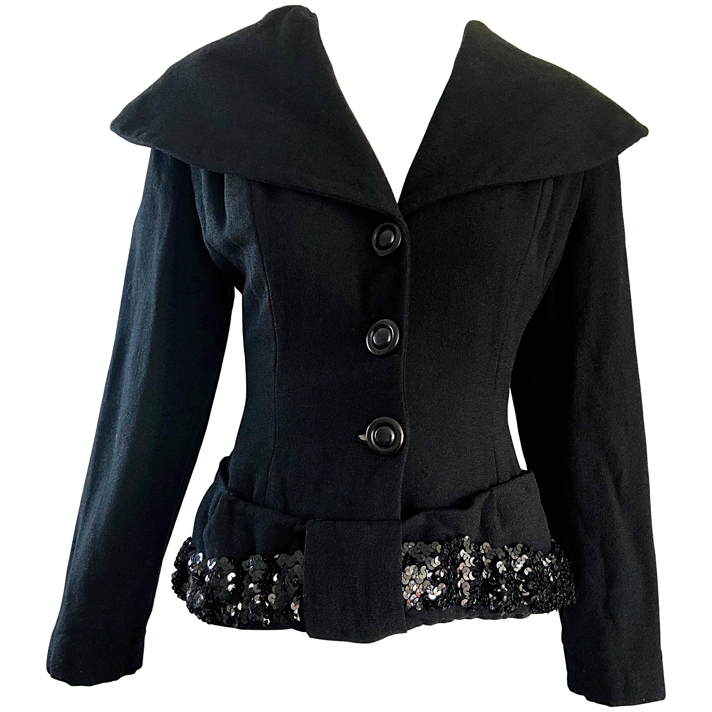 1940s Lilli Ann Gorgeous Black Wool + Sequins Dramatic Vintage 40s Jacket Coat
