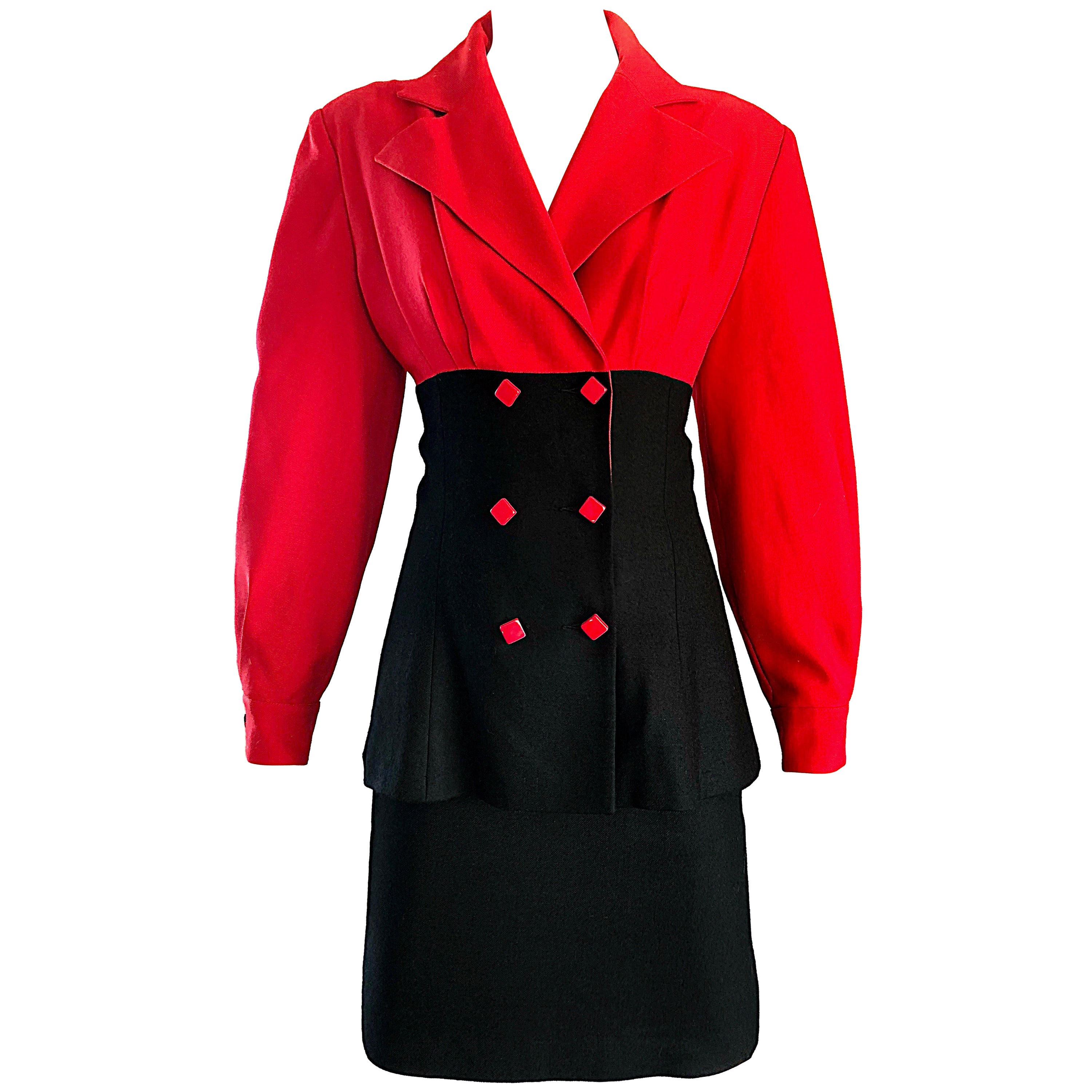 Patrick Kelly Vintage Lipstick Red and Black Color Block Avant Garde Skirt Suit