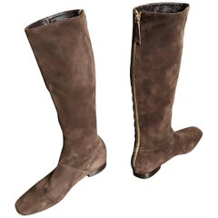 New 1990s Moschino Cheap & Chic Size 38.5 / 8.5 Brown Suede 90s Knee High Boots