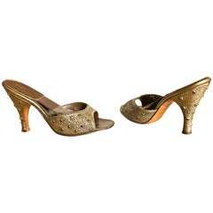 1950s Herbert Levine Bronze Gold Size 6 Ruby Red Rhinestone Springulator Heels