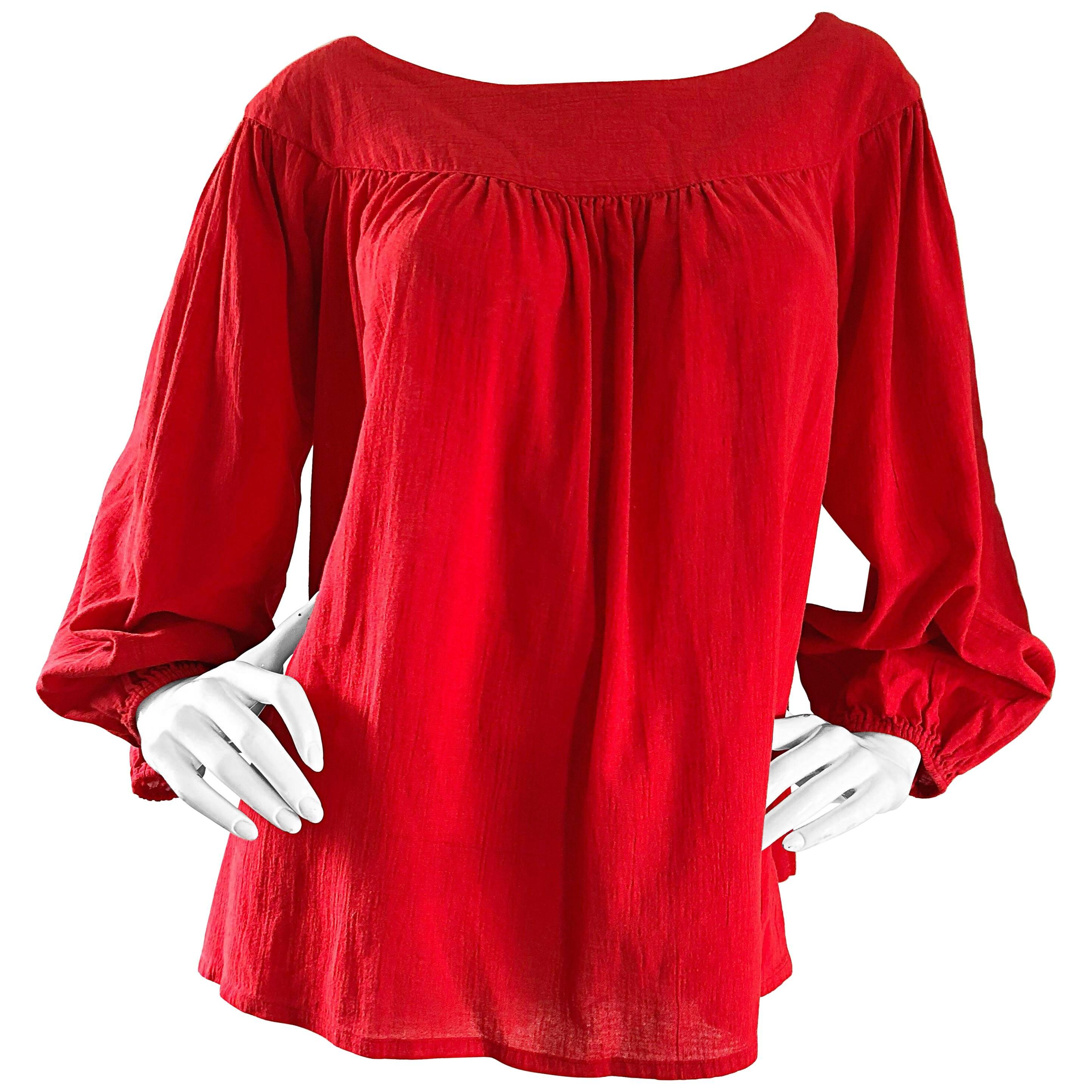 1970s Yves Saint Laurent Russian Collection Lipstick Red Boho Peasant Blouse Top