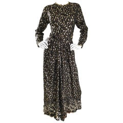 Geoffrey Beene 1970s Black and Gold Silk Lame Moon Print Lace Evening Dress