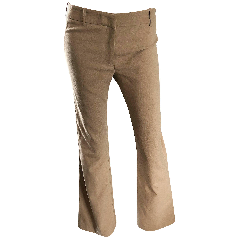 1990s Katayone Adeli Size 4 Khaki Taupe Low Rise Flared Leg Vintage 90s Pants