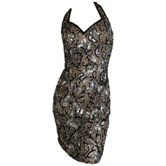 Oleg Cassini Baroque Beaded Vintage 1980's Mini Party Dress