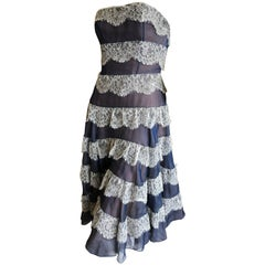 Christian Dior John Galliano Strapless Blue Tiered Lace Trim Dress Inner Corset