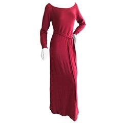 Halston 1970's Luxurious Pure Cashmere Batteau Neck Belted Red Evening Dress