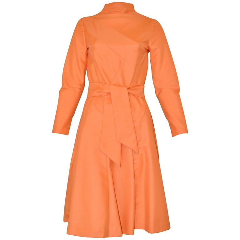 Vintage Peach Raw Silk Dress with Belt