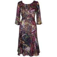 Silk Print Day Dress