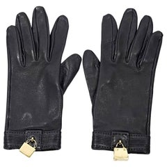 Black Hermes Lambskin Soya Gloves