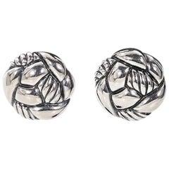 Silver David Yurman Knot Earrings