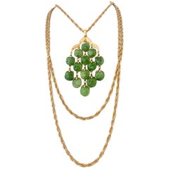 Crown Trifari Gold and Glass Jade Triple Strand Pendant Necklace, 1960s
