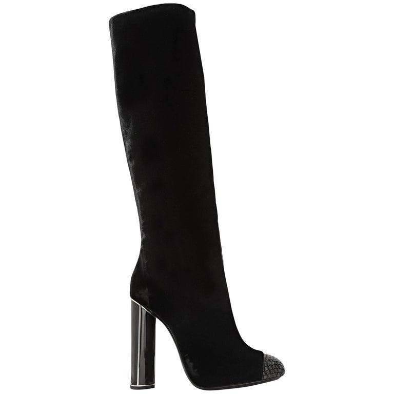 New $2700 Tom Ford Bead-embellished Black Velvet High Heel Boots 36.5  38  39.5
